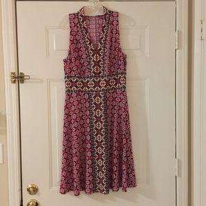 Red/pink/navy/black patterned dress